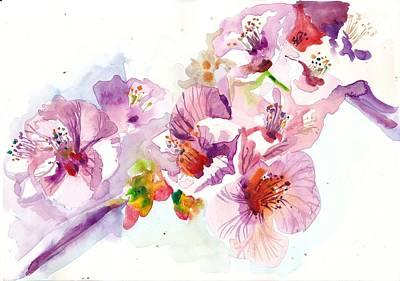 Sakura - Cherry Flowers Watercolor Poster by Tiberiu Soos