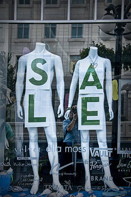 Sale In Window Display With Mannequins In Toronto Poster
