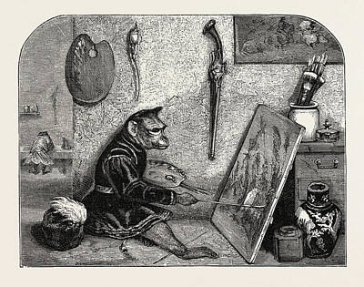 Salon Of 1855. Monkey Painter Poster by Decamps, Alexandre-gabriel (1803?1860), French