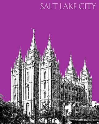 Salt Lake City Skyline Mormon Temple - Plum Poster by DB Artist