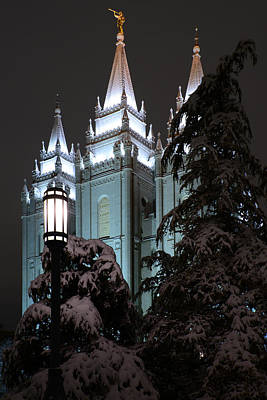 Salt Lake Temple In The Snow Poster by Dustin  LeFevre