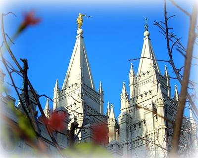 Poster featuring the photograph Salt Lake Temple Top by Heidi Manly
