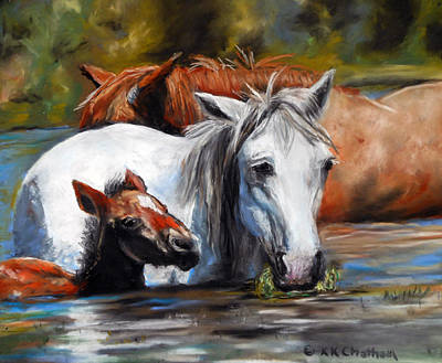 Poster featuring the pastel Salt River Foal by Karen Kennedy Chatham