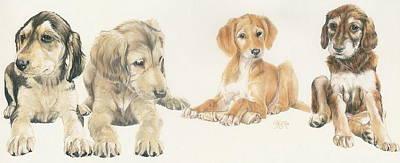 Saluki Puppies Poster by Barbara Keith