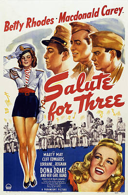 Salute For Three, Left Betty Rhodes Poster