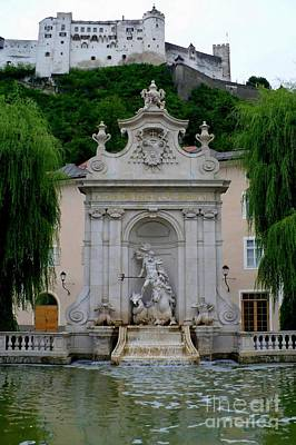 Salzburg Castle With Fountain Poster by Carol Groenen
