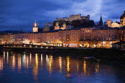 Salzburg During The Blue Hour Poster by Shirley Radabaugh