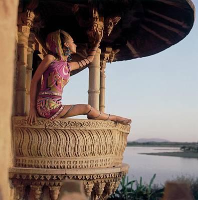 Samantha Jones Wearing A Hooded Print Silk Poster