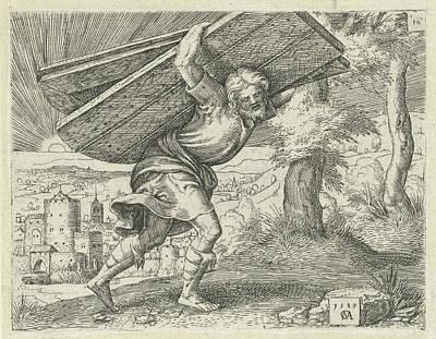Samson Carrying The Gates Of Gaza, Print Maker Cornelis Poster by Cornelis Massijs