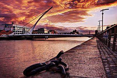 Poster featuring the photograph Samuel Beckett Bridge At Dusk - Dublin by Barry O Carroll