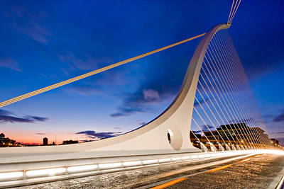 Poster featuring the photograph Samuel Beckett Bridge At Night / Dublin by Barry O Carroll