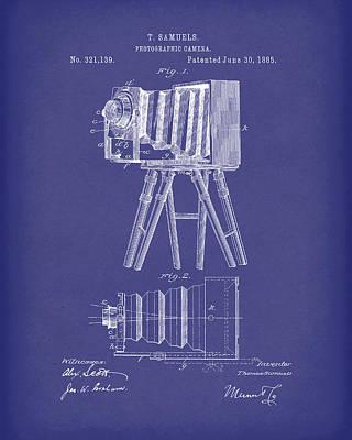 Samuels Photographic Camera 1885 Patent Art Blue Poster by Prior Art Design