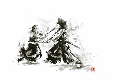 Samurai Sword Bushido Katana Martial Arts Budo Sumi-e Original Ink Sword Painting Artwork Poster by Mariusz Szmerdt