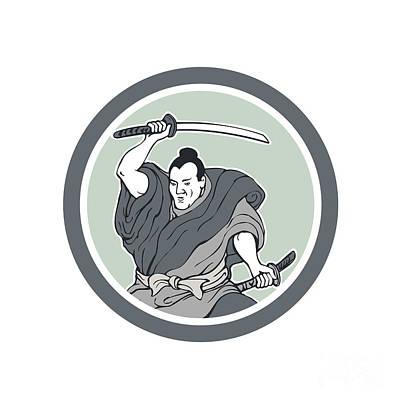Samurai Warrior Wielding Katana Sword Circle Poster
