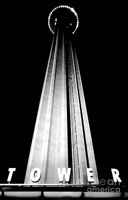 San Antonio Tower Of The Americas Hemisfair Park Space Needle Tower Restaurant Black And White Poster by Shawn O'Brien