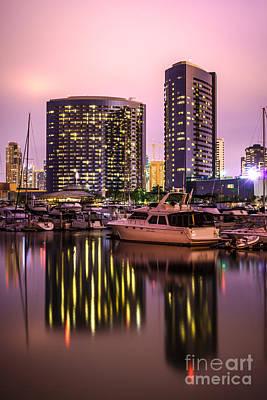 San Diego At Night At Embarcadero Marina Poster by Paul Velgos