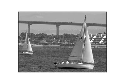 Poster featuring the digital art San Diego Bay Sailing 1 by Kirt Tisdale