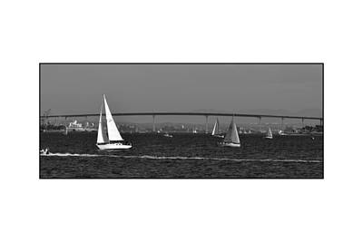 Poster featuring the digital art San Diego Bay Sailing 2 by Kirt Tisdale
