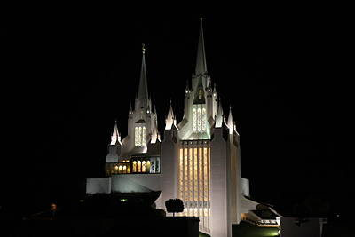 San Diego Mormon Temple At Night Poster