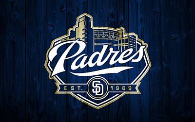 San Diego Padres Barn Door Poster by Dan Sproul