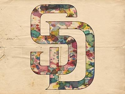 San Diego Padres Logo Vintage Poster by Florian Rodarte
