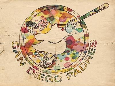 San Diego Padres Vintage Art Poster by Florian Rodarte
