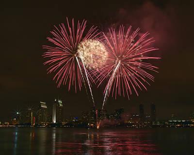 San Diego Skyline Fireworks Poster
