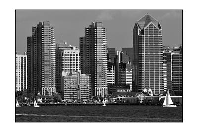 Poster featuring the digital art San Diego Skyline by Kirt Tisdale