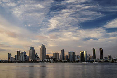 Poster featuring the photograph San Diego Skyline Sunset 1 by Lee Kirchhevel