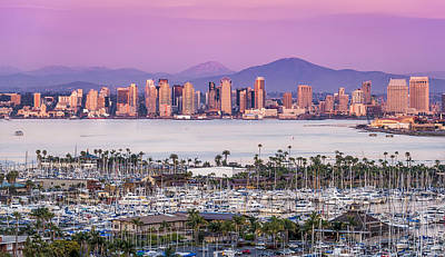 San Diego Sundown - San Diego Skyline Photograph Poster