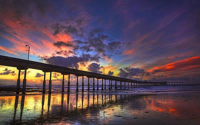 San Diego Sunset Poster by Kenny  Noddin