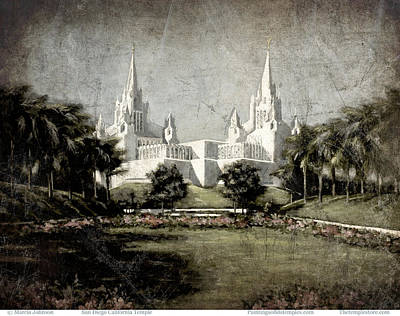 San Diego Temple Antique Poster