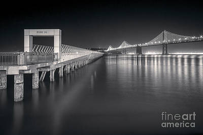 San Francisco Bay Bridge And Pier 14 Poster by Colin and Linda McKie