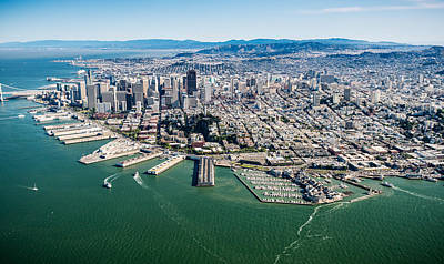 San Francisco Bay Piers Aloft Poster by Steve Gadomski