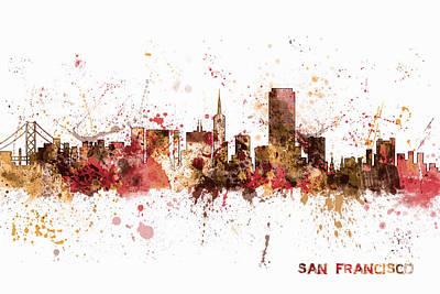 San Francisco California City Skyline Poster by Michael Tompsett