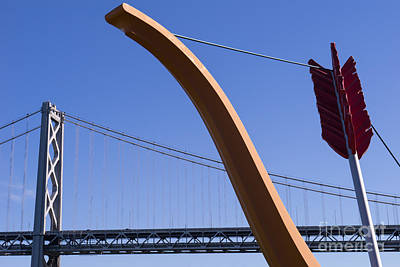 San Francisco Cupids Span Sculpture At Rincon Park On The Embarcadero Dsc1808 Poster by Wingsdomain Art and Photography