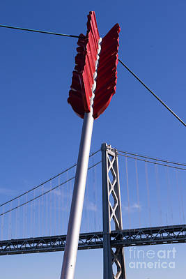 San Francisco Cupids Span Sculpture At Rincon Park On The Embarcadero Dsc1810 Poster by Wingsdomain Art and Photography