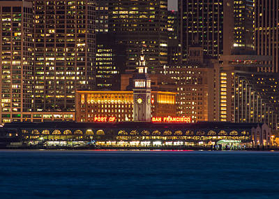 San Francisco Ferry Building At Night.  Poster