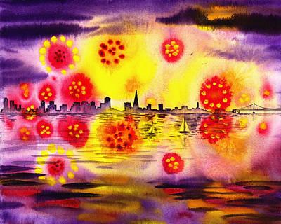 San Francisco Fireworks Flowers Poster