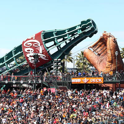 San Francisco Giants Baseball Ballpark Fan Lot Giant Glove And Bottle 5d28241 Square Poster by Wingsdomain Art and Photography