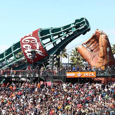 San Francisco Giants Baseball Ballpark Fan Lot Giant Glove And Bottle 5d28241 Square Poster
