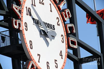 San Francisco Giants Baseball Scoreboard And Clock 5d28233 Poster by Wingsdomain Art and Photography