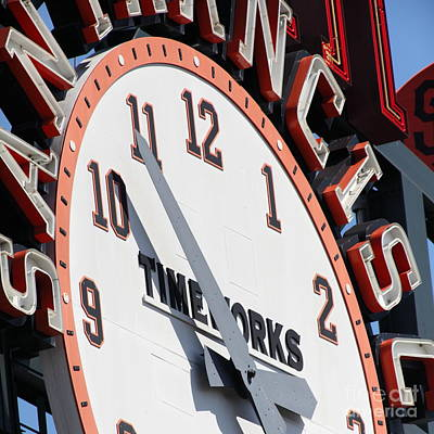 San Francisco Giants Baseball Scoreboard And Clock 5d28234 Square Poster by Wingsdomain Art and Photography