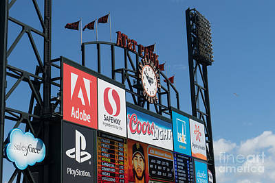 San Francisco Giants Baseball Scoreboard And Clock Dsc1163 Poster by Wingsdomain Art and Photography