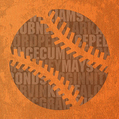 San Francisco Giants Baseball Typography Famous Player Names On Canvas Poster by Design Turnpike