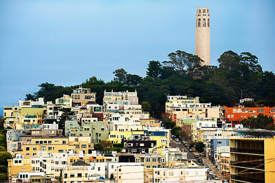 San Francisco California Hills And Coit Tower Poster by Gregory Ballos