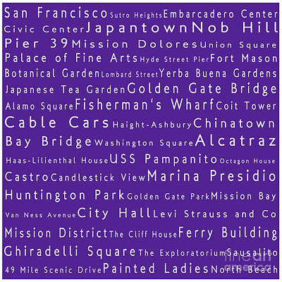 San Francisco In Words Purple Poster