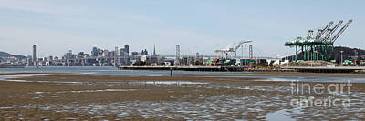 San Francisco Skyline And The Bay Bridge Through The Port Of Oakland 5d22238 Poster