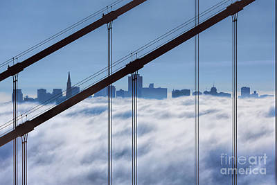 San Francisco Skyline In Fog Poster by Jerry Fornarotto