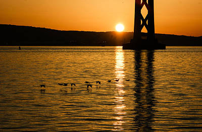 Poster featuring the photograph San Francisco Bay Bridge Sunrise by Georgia Mizuleva